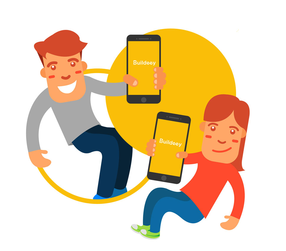 A girl and a boy holding phones with buildeey logo on the screen