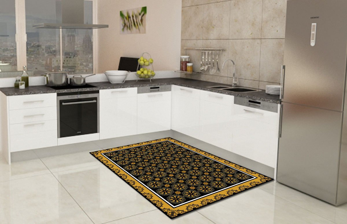 a kitchen with a beautiful rug